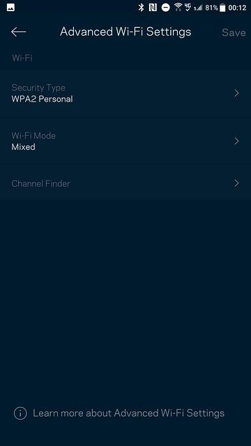 Velop App - Advanced Wi-Fi Settings