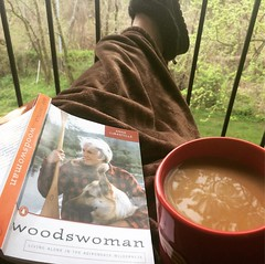 Up before my alarm = get to read for fun. Loving this memoir by a woman who built herself cabin in the Adirondacks; very Laura Ingalls Wilder meets Henry David Thoreau. #woodswoman, #annelabastille, #coffeeandabook