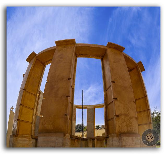 Historic astronomical instrument Rama Yantra at Jantar Mantar, Jaipur