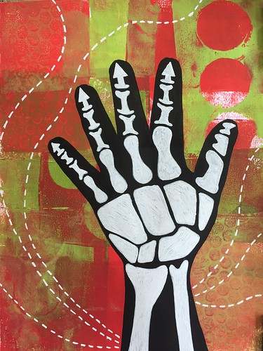16b Skeleton Hand on Gelli Print Background