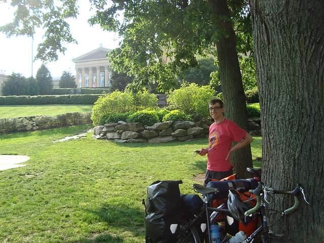 Relaxing at the end of the trip, outside the Philadelphia Museum of Art