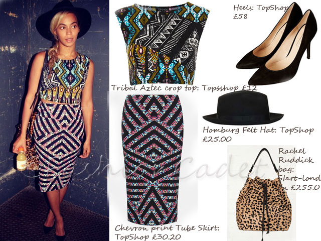 Beyonce in ankara crop top, get beyonce's look, what she wore, what beyonce wore, Beyonce, Solange, cropped top. Crop top, OOTD (Outfit of the Day, Rihanna, high waisted skirts, African prints, Dare to bare, Louis Vuitton, Pucci, Ankara prints Cropped Tee, tribal Aztec crop tee