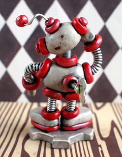 Silver Sis Mini Robot Sculpture