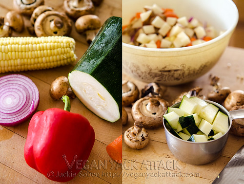 Image collage of fresh produce, like bell pepper, zucchini, red onion, corn and mushrooms
