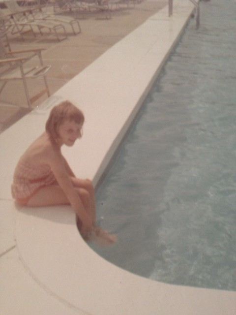 Elizabeth at the pool at the Avon Inn