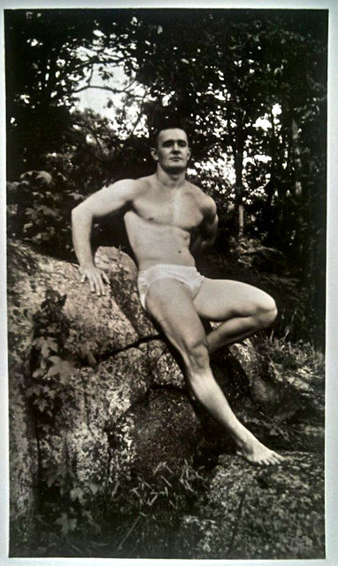 Vintage 1960s Photo: Shirtless Muscle Man Posing In A Pair Of Briefs Cut Speedo Swim Trunks 3