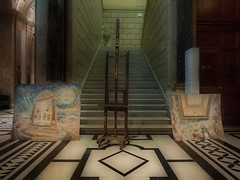 Two Ready Paintings by Günter Fritsch and an Empty Scaffold - Kunsthistorisches Museum Wien