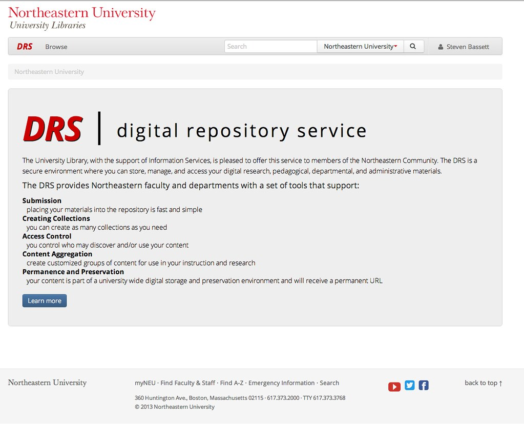 Screen shot of the landing page for the digital repository service.