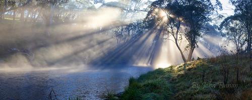 panorama mist fog sunrise australia nsw sunrays newenglandtablelands guyfawkesriver johnfinnan