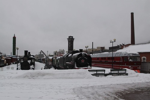More exhibits at the open air October Railroad Museum in Saint Petersburg