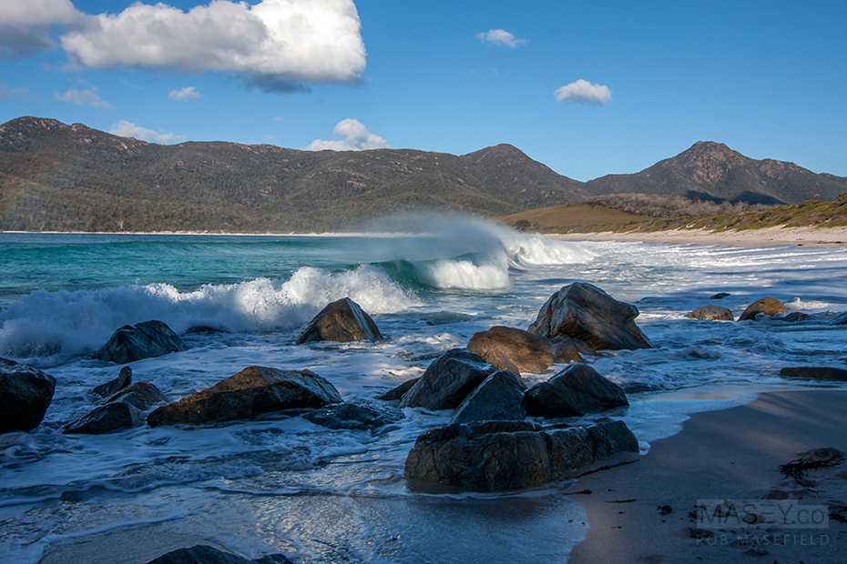 The rolling, wind swept break of Wineglass Bay.