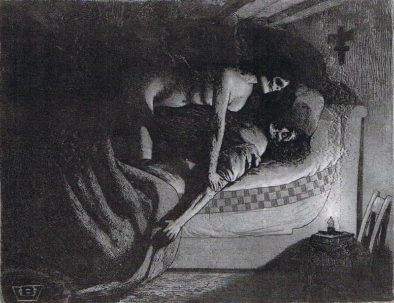 Valère Bernard - Homme au lit avec squelette