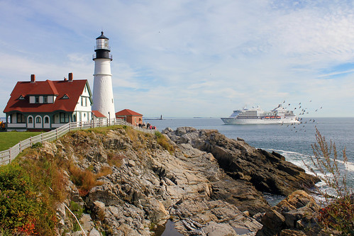 Cruise ship passes Portland Head Light by nelights