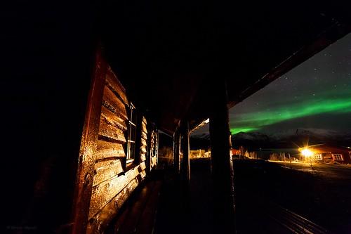 1 nov 2013 some aurora, at Andøya friluftsenter, Andøya island. A brown cabin and green stripe of aurora.