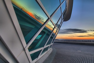 Saturday Sunrise at Lake Michigan and Milwaukee Art Museum MAM Milwaukee Wisconsin by sheldn
