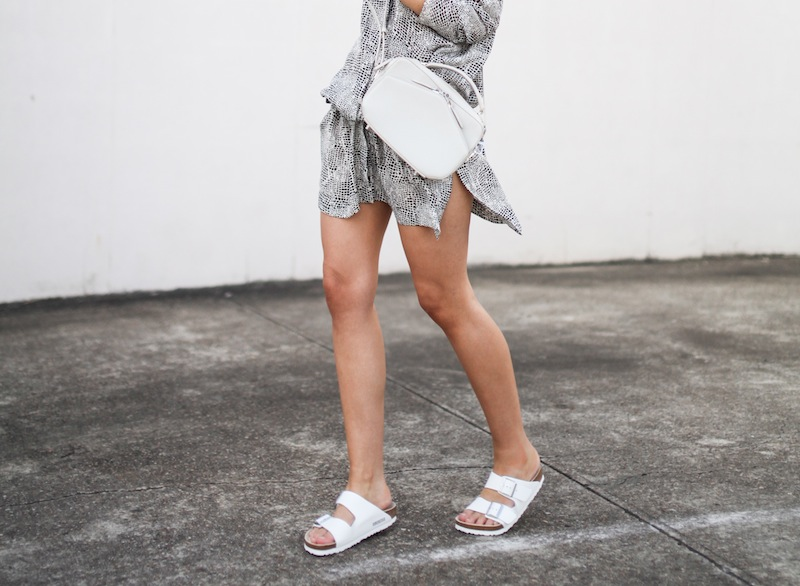 modern legacy fashion style blogger australia outfit street style willow print shirt dress white birkenstocks alexander wang rafael bag monochrome bare legs (4 of 9)