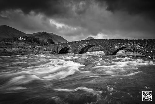 bridge mountains skye river mono scotland blackwhite whitewater rapids torrent sligachan