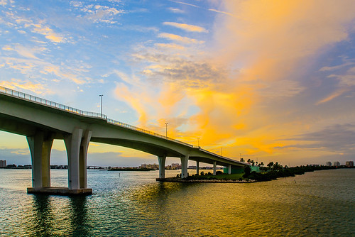 Blue Sky, clouds and Sunset behind Clearwater Memorial Bridge from Clearwater Harbor Marina