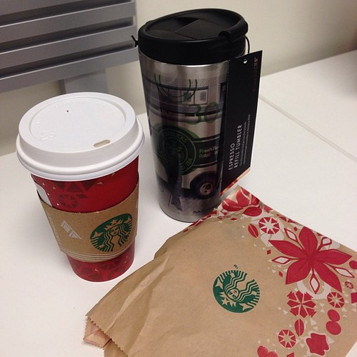 333:365 Grand total of my Black Friday shopping: Starbucks tumbler, roll of Warm & Natural batting, & backing for a quilt.