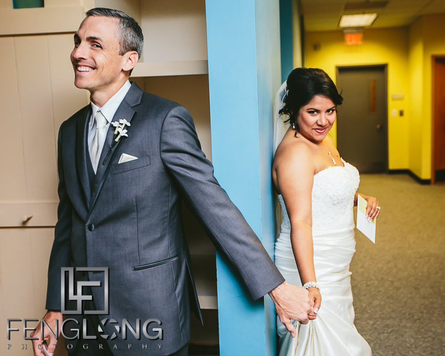 Indian bride and American groom do a first look