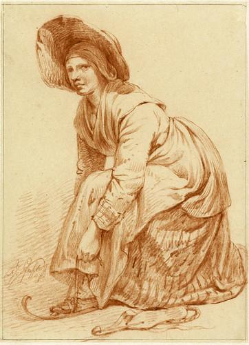 008-Mujer colocandose los patines, François Joseph Pfeiffer (II), 1788-1835-Rijkmuseum
