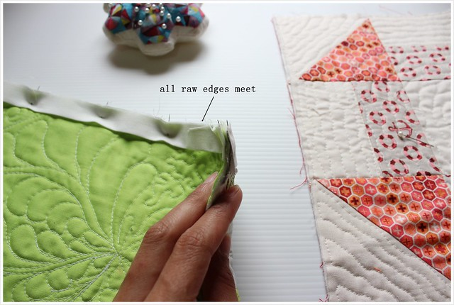 pins before stitching three layers3