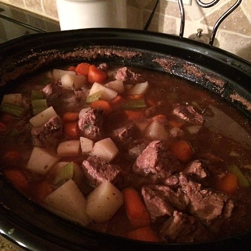 Yummy beef stew in the crockpot. Just add together the beef stew meat, vegetables, beef broth, salt, pepper, basil, rosemary, bay leaves, garlic and cook on high for 4-6 hours. Easy Peasy!