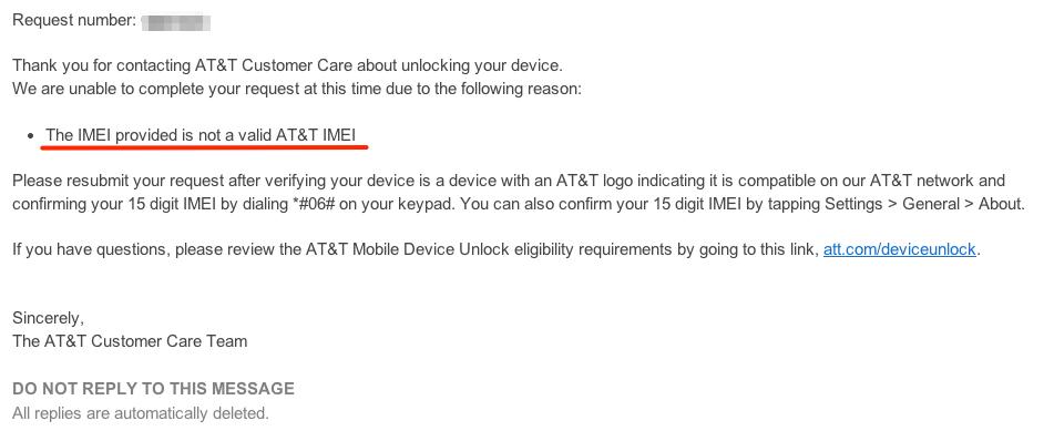 AT&T unlock 4