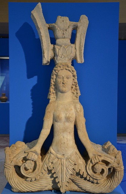 The Mixoparthenos (half-maiden), a hybrid creature from the Black Sea, limestone sculpture, 1st-2nd century AD, from Panticapaeum, Taurica (Crimea)