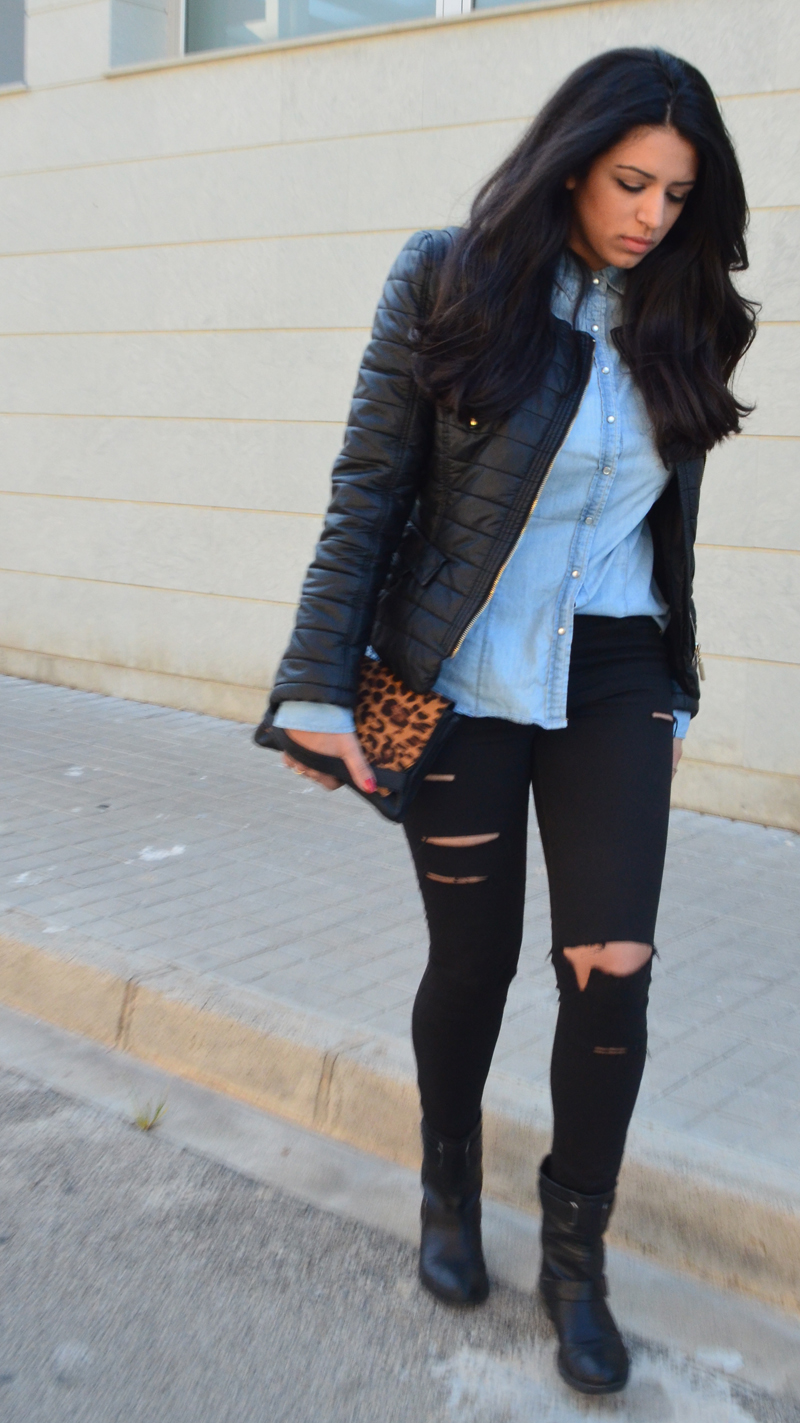 florenciablog look rocker broken jeans inspiration leopard clutch stradivarius how to wear broken jeans (12)