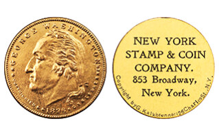 New York Stamp & Coin embossed storecard