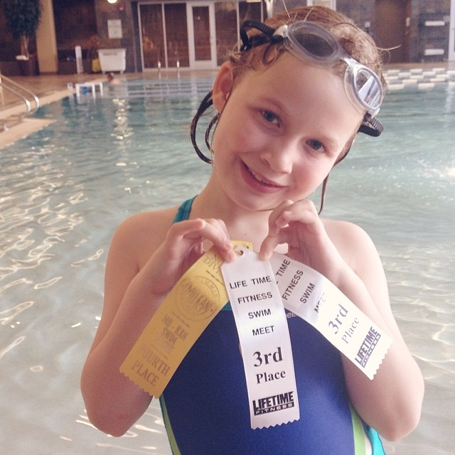 Super proud of my little #fish! #365grateful #swimmer #firstribbons #lifetime #swimteam #proud