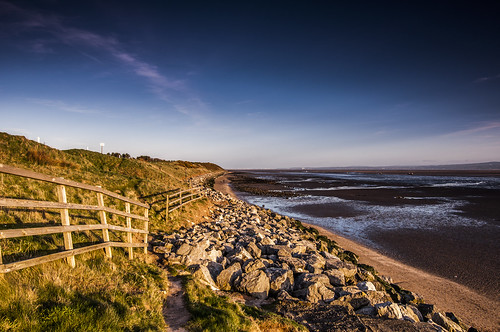 blue light sunset sea sky cloud sun reflection beach nature water grass rock stone wall fence river landscape evening sand nikon day dof cheshire path tokina trail dee armour defence wirral mkii merseyside caldy heswall d90 1116 pwpartlycloudy