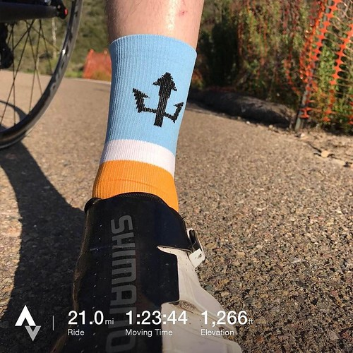 Spinning home, trying to get something back in the legs after vacation and a rainy winter in San Diego. Sporting Eliel's UCSD cycling socks (and Jersey) today. . . #sandiego #ucsd @elielcycling @ucsdcycling #bike #bikecommute #sockgame #sockdoping