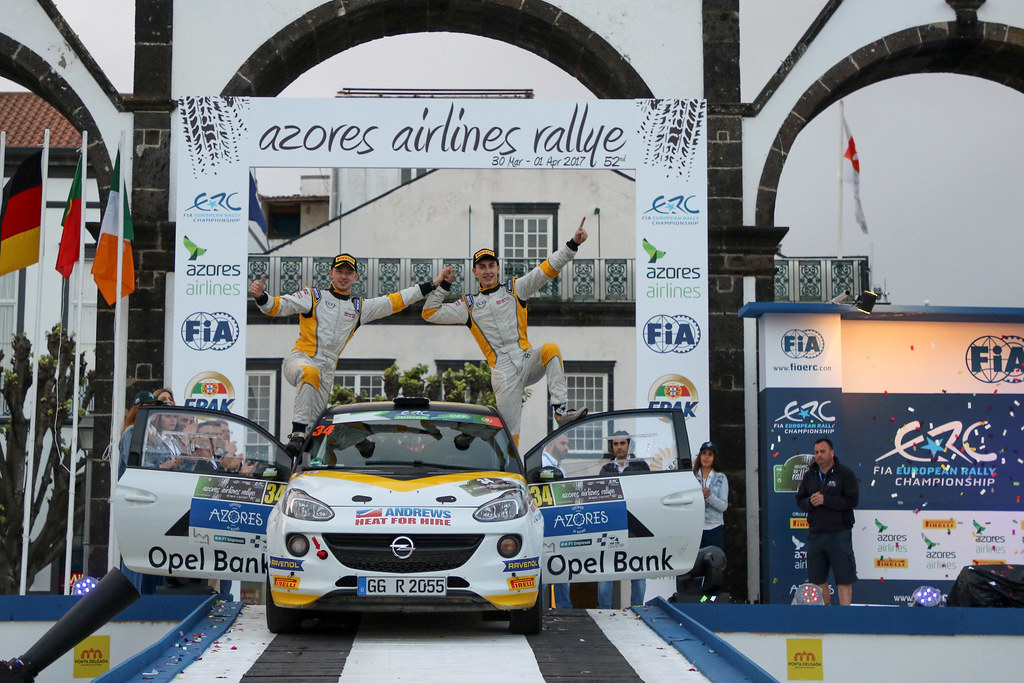 34 INGRAM Chris EDMONDSON Elliot Opel Adam R2 Ambiance Portrait during the 2017 European Rally Championship ERC Azores rally,  from March 30  to April 1, at Ponta Delgada Portugal - Photo Jorge Cunha / DPPI