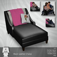 [Park Place] Black Leather Chaise - Cuddles