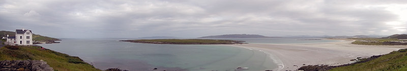 A panorama of Portnoo Beach in Ireland