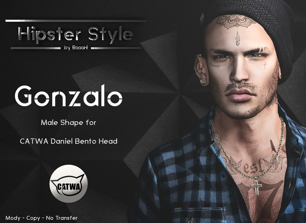 [Hipster Style] Gonzalo Male Shape for CATWA Daniel Bento Head - SecondLifeHub.com