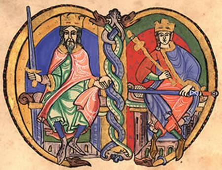 David I of Scotland and Malcolm IV of Scotland, from Kelso Abbey charter
