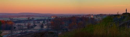 sunrise dawn little round top gettysburg national military park nps pa pennsylvania sky color travel nationalpark rgrennan rwgrennan ryan grennan nikon panorama pano landscape monument civil war