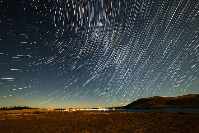 Star trails over Tekapo village