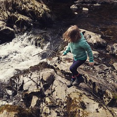 Hiking boots, scrambling on rocks and a stick make for a happy 4 and a half year old #nationaltrust #walk