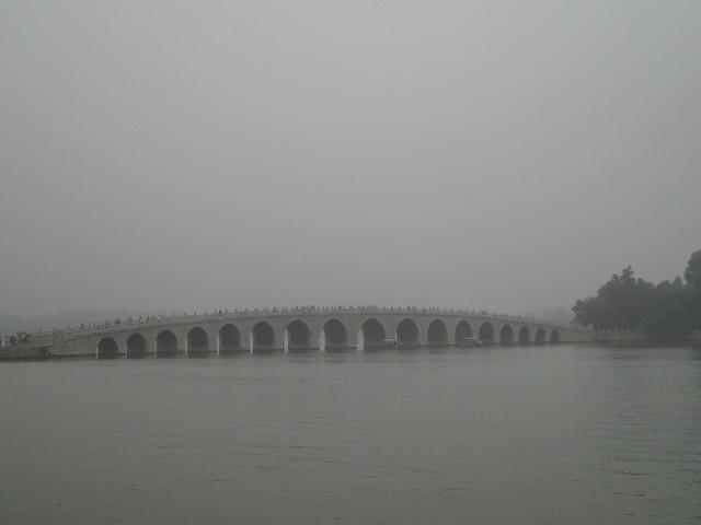 Lac Kunming depuis le Palais d'été à Beijing