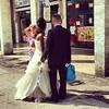 Just married, waiting for the bus #wedding #travel #bus #honeymoon