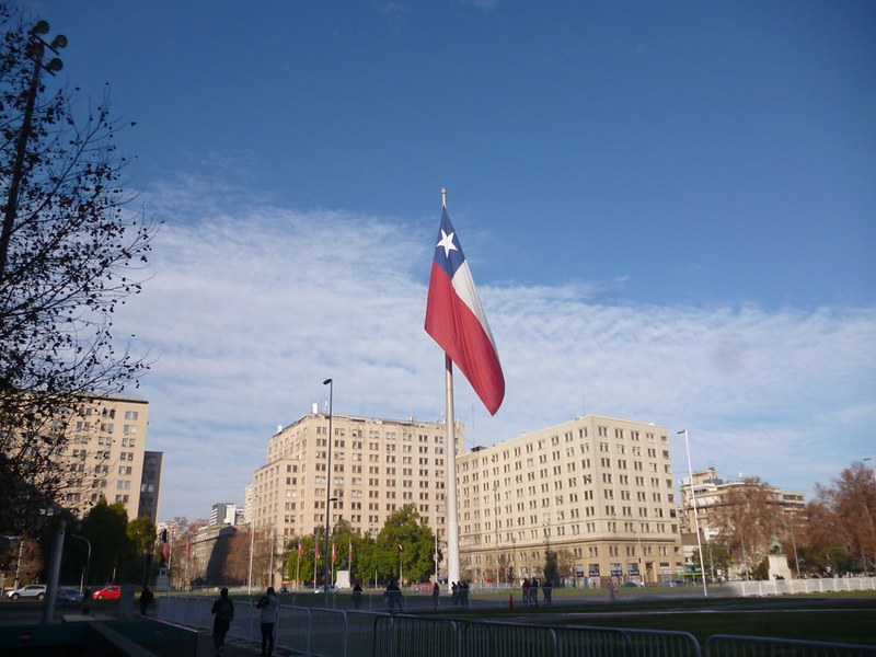 Santiago square with a flag