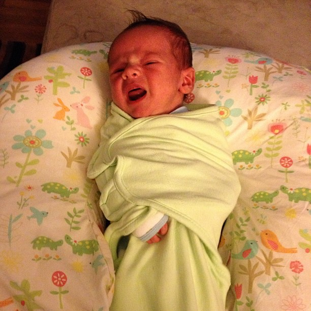 Angry baby burrito. I'm thinking he's not going to be rocking the swaddle for too much longer... #newborn #babyhaze #babyburrito #swaddle