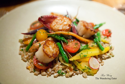 Garden Brunch: Seared Scallops and Farro Salad, Market Veggies, Local Asparagus, Lemon and Chive Vinaigrette