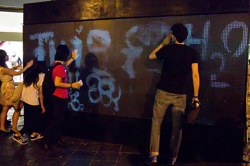 Members of the media got to try out the water based LED graffiti board.