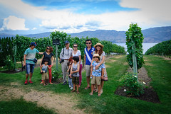 Family in front of Pinot noir