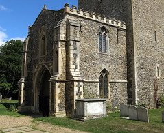 "The two-story west porch (or ""Galilee porch"") and tower of Saxon/Norman origin, the Church of St Mary Magdalene, Debenham, Suffolk, England"